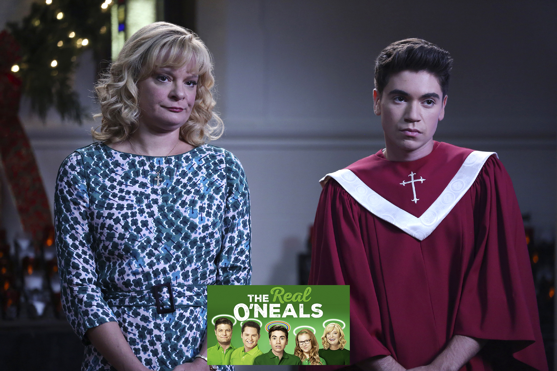 "THE REAL O'NEALS - ""The Real Christmas"" - Eileen will stop at nothing to win the Christmas Choir competition and gives the coveted Christmas Choir solo to their newest member Brett (Sean Grandillo), to Kenny's dismay, while Jimmy is tasked with spying on their toughest competitor, Sheila Demars (Angela Kinsey). But, when Kenny attempts to sabotage Brett's role, he finds a potential love interest. Meanwhile, Shannon accidentally gives Pat the wrong impression about a Christmas present she plans on giving to Ethan, on ""The Real O'Neals,"" airing TUESDAY, DECEMBER 13 (9:30-10:00 p.m. EDT), on the ABC Television Network. (ABC/John Fleenor)