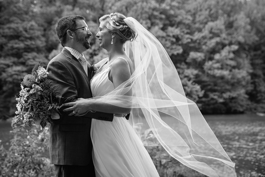 Audubon Park wedding couple with bridal veil