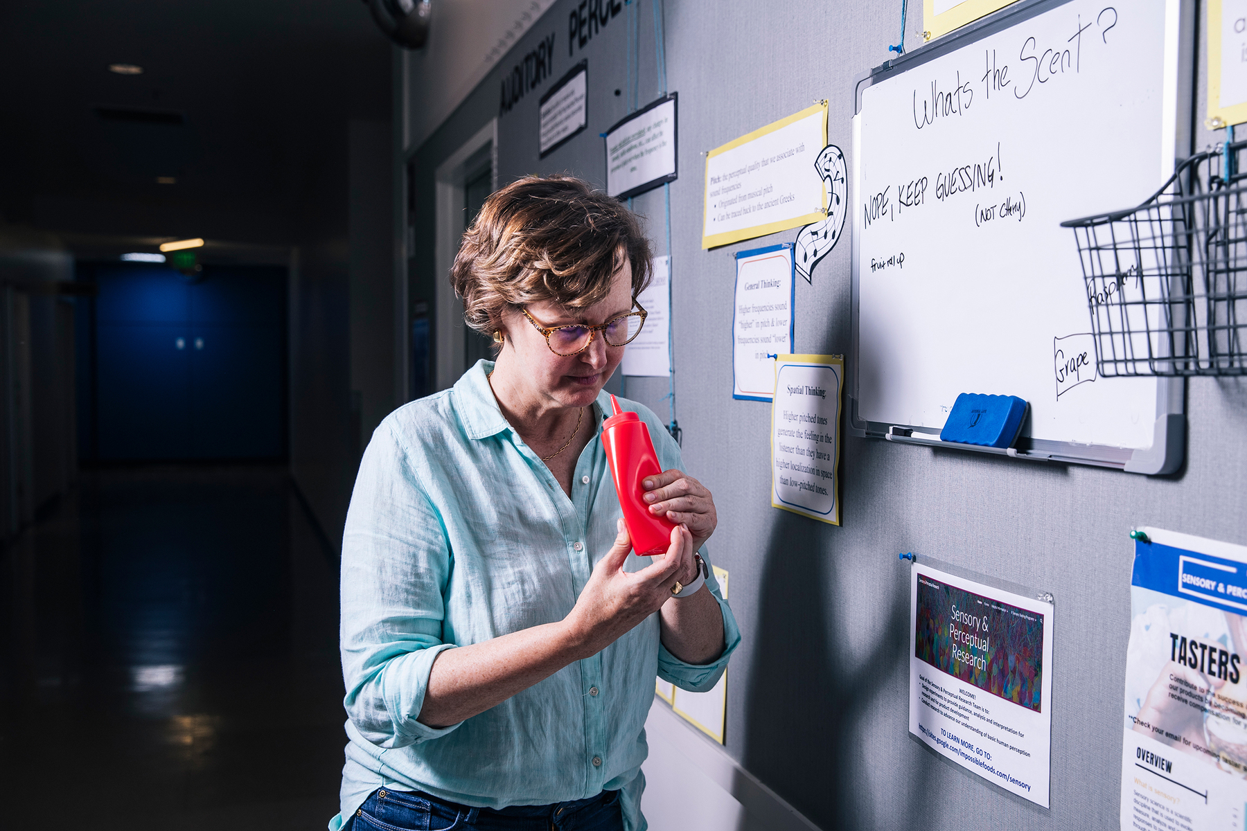 An employee sniffs a sample inside Impossible Foods headquarters in Redwood City, Calif. on Thursday, June 20, 2019.