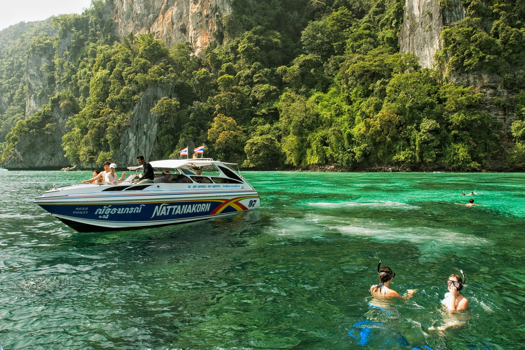 Kho Phi Phi Don Island, Krabi, Thailand, Andaman Sea, Women skin diving