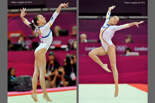 Andreea Iordache (Romania) competing on floor exercise at the Gymnastics competition of the London 2012 Olympic Games.