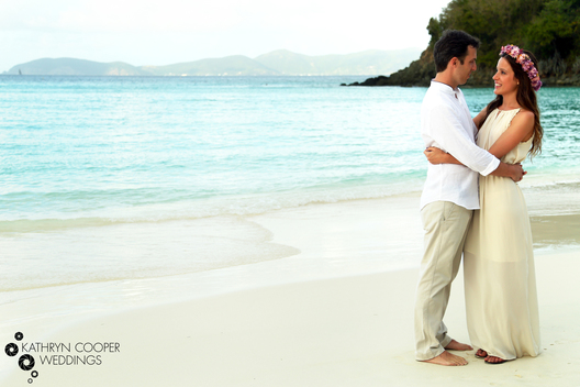 Italian elopement couple celebrating beach wedding on Trunk Bay, St. John photography