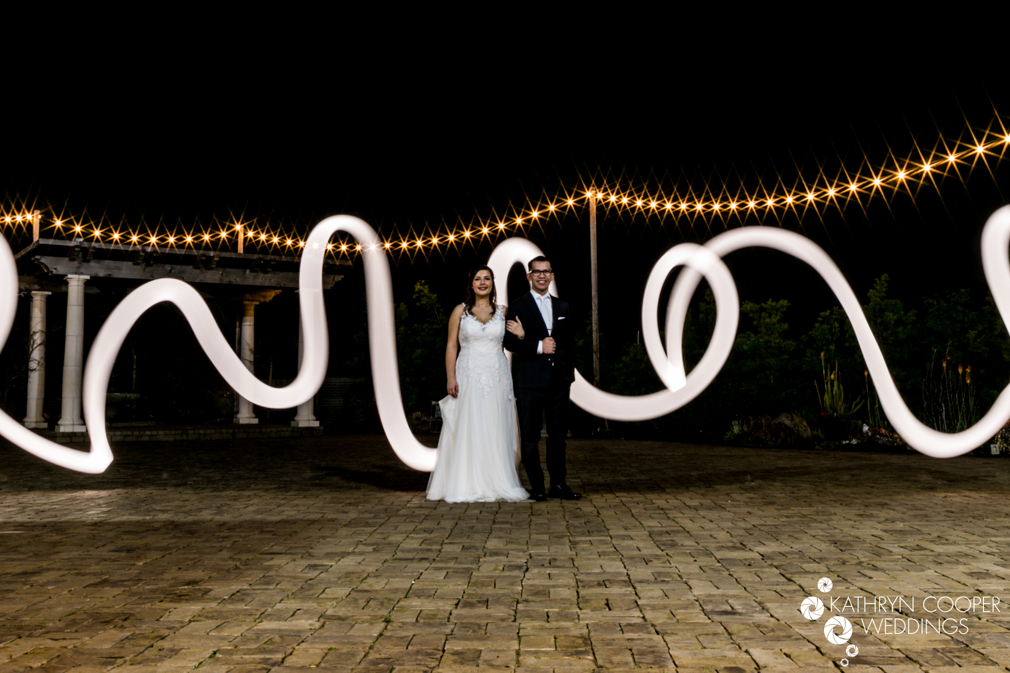 long exposure creative wedding shot with light in Sunol California by Sunold wedding photographer Kathryn Cooper