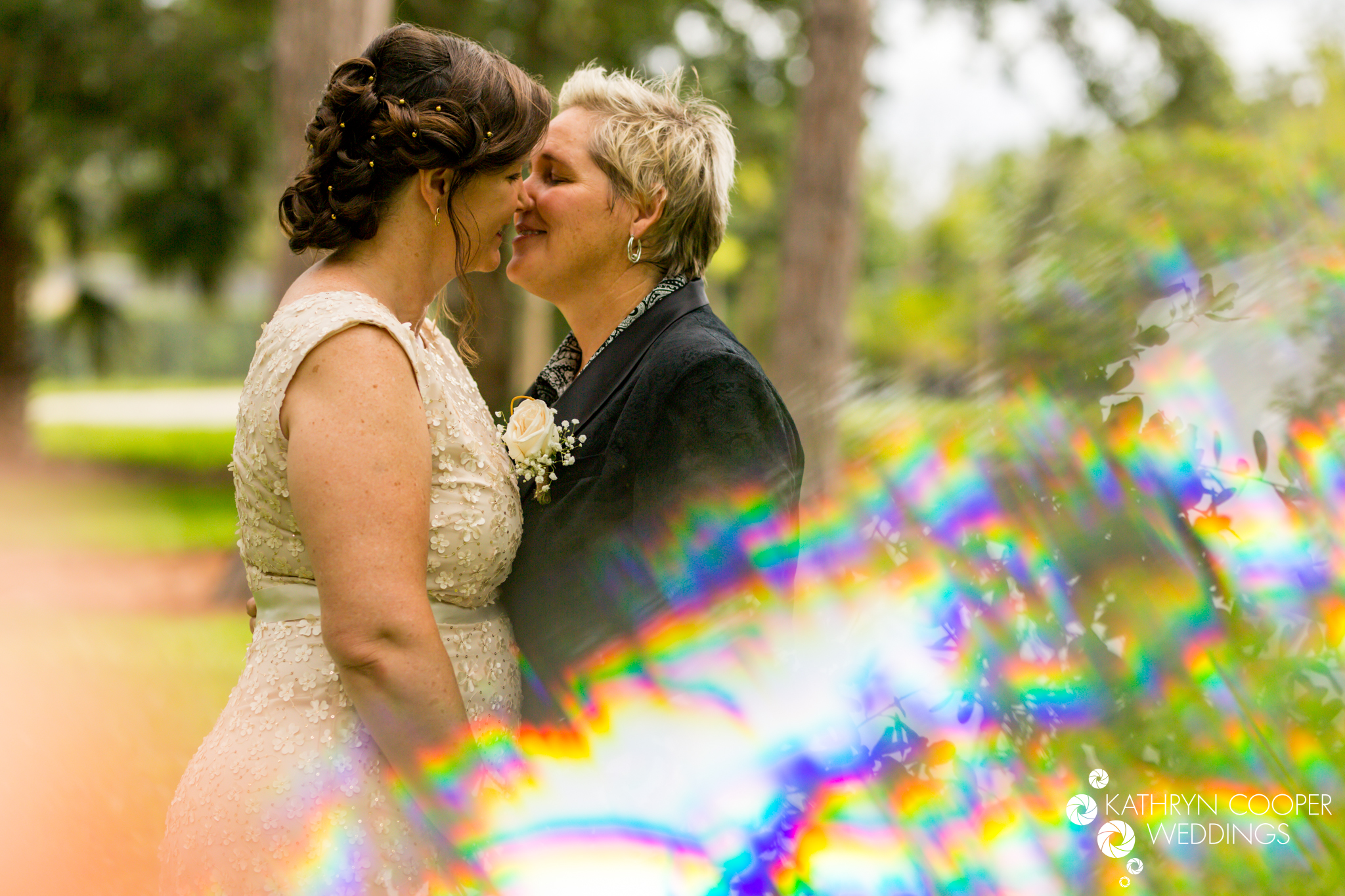 Prism photography, lesbian couple kissing LGBTQ wedding photographer in Orlando, Fla