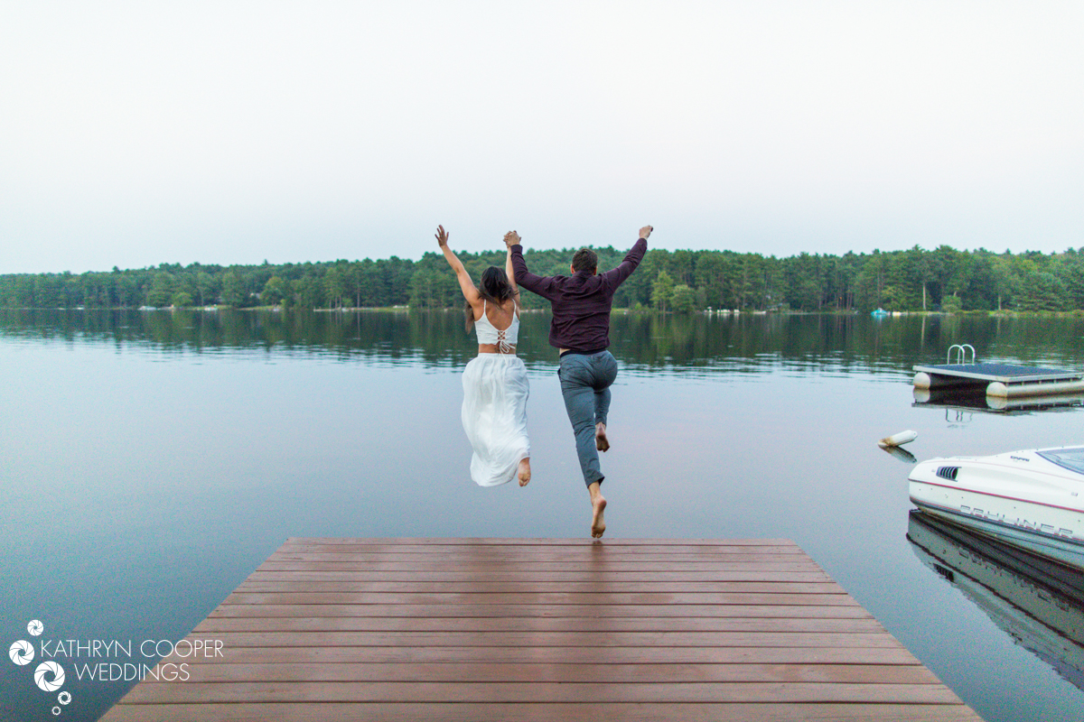 Glen Spey Lake jumping into the lake engagement photo