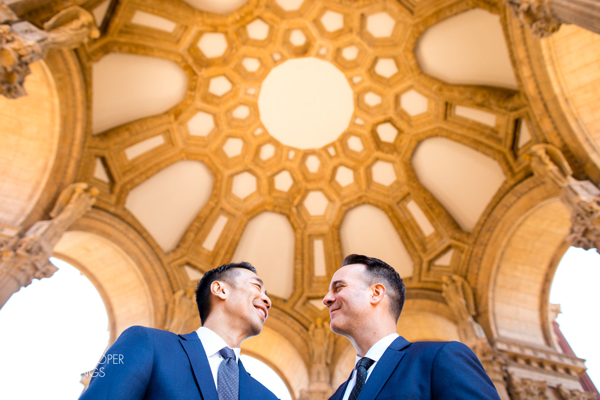 Palace of Fine Arts wedding photo of gay couple for San Francisco elopement