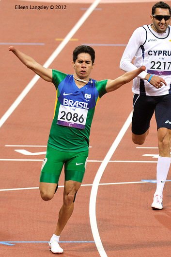 Yohansson Nascamento (Brazil) wins the 200 metres T46 race in impressive style during the Athletic competition at the London 2012 Paralympic Games.