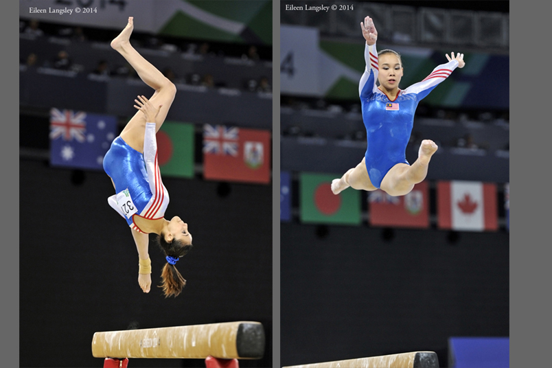 Farah Hadi and Ang Tracie (Malaysia) competing on Beam at the Gymnastics competition of the 2014 Glasgow Commonwealth Games.