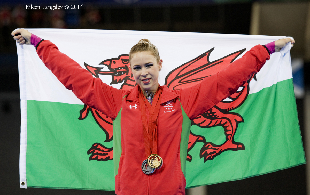 Frankie Jones (Wales) wins the gold medal with Ribbon during the Rhythmic Gymnastics competitions at the 2014 Glasgow Commonwealth Games.