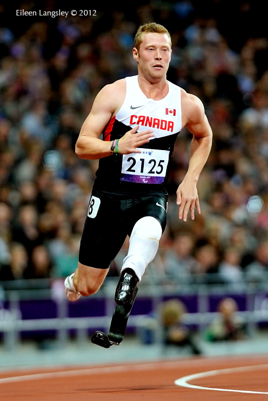 Alister McQueen (Canada) in action in the 200 metres T44 race during the Athletics competition of the London 2102 Paralympic Games.