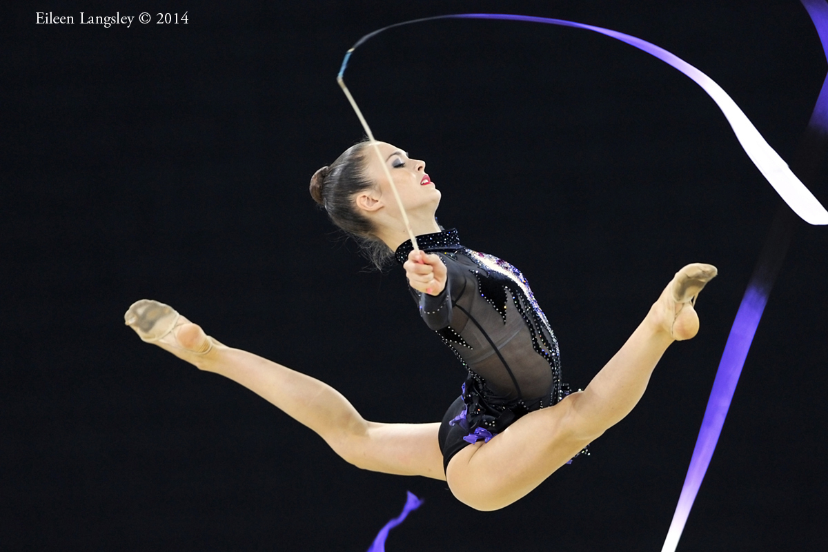 Laura Halford (Wales) competing with Ribbon during the Rhythmic Gymnastics competitions at the 2014 Glasgow Commonwealth Games.