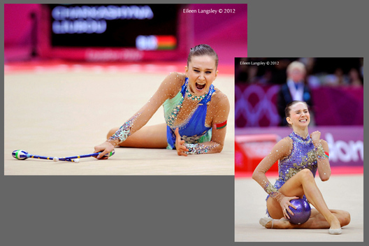 Lioubou Charkasyna (Belarus) can hardly contain her delight in winning the bronze medal during the Rhythmic Gymnastics event at the 2012 London Olympic Games.