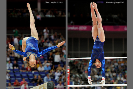Hannah Whelan (Great Britain) competing on Balance Beam and Asymmetric Bars during the Artistic Gymnastics competition of the London 2012 Olympic Games.