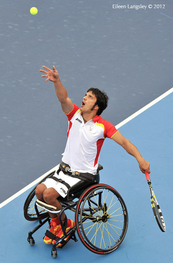 Francesc Tur Blanch (Spain) competing in the men's singles event of the Wheelchair Tennis competition at the London 2012 Paralympic Games.