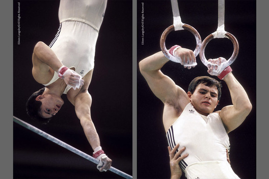 A double image of Dimitri Bilozertschev (USSR) competing on High Bar and Rings during the 1988 Seoul Olympic Games.