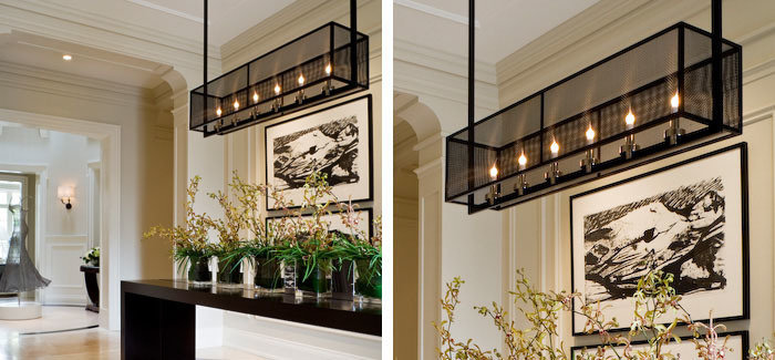 Black oxidized copper mesh, angle and square tube dining room pendant with polished nickel incandescent candle holders