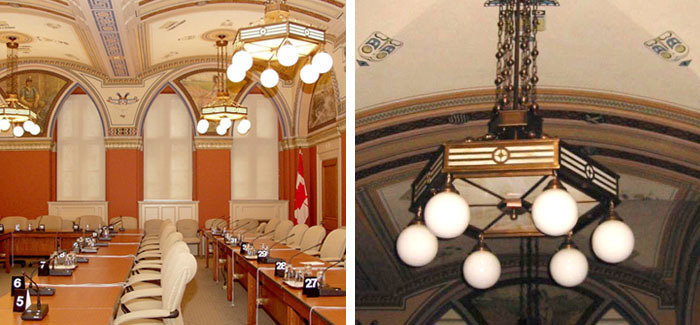 Period appropriate, custom solid brass and art glass direct / indirect pendant fixtures for Canadian Parliament Buildings