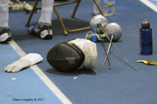 A generic image of the hands of equipment left behind by a competitor at the 2011 European Fencing Championships at the English Institute of Sport Sheffield July 18th.