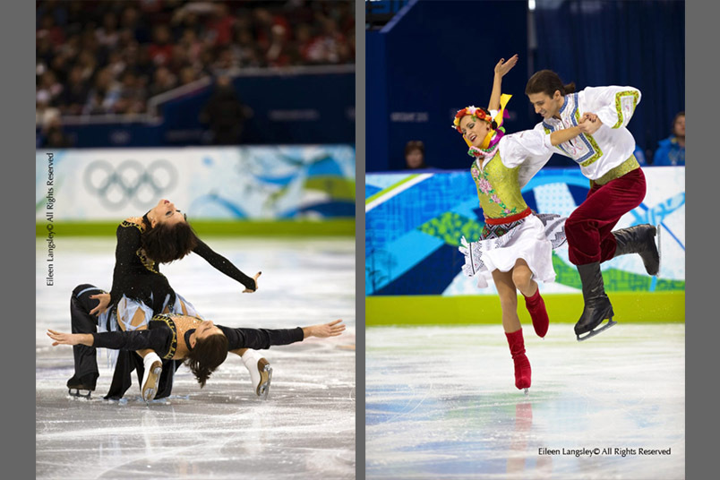 Anna Zadorozhniuk and Sergei Verbillo (Ukraine) performing their free programme (left) and during their Original Dance (right) at the 2010 Vancouver Winter Olympic Games.