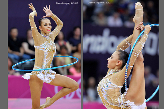 Daria Dmitireva (Russia) competing with Hoop at the Rhythmic Gymnastics competition of the London 2012 Olympic Games.
