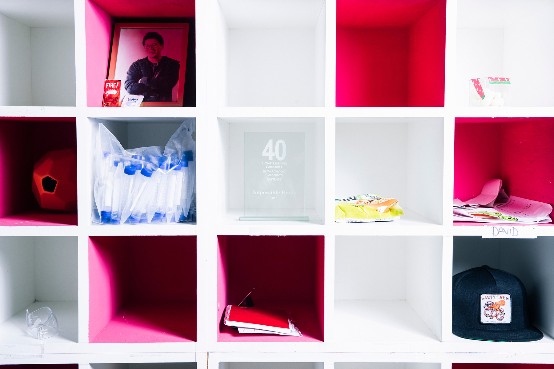 Personal items are seen in a cubby unit at the R&D lab inside Impossible Foods headquarters in Redwood City, Calif. on Thursday, June 20, 2019.