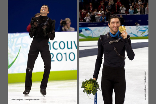 A double image of Evan Lysacek (USA) as he senses success at the end of his short programme left and proudly displaying his gold medal at the 2010 Winter Olympic Games in Vancouver.