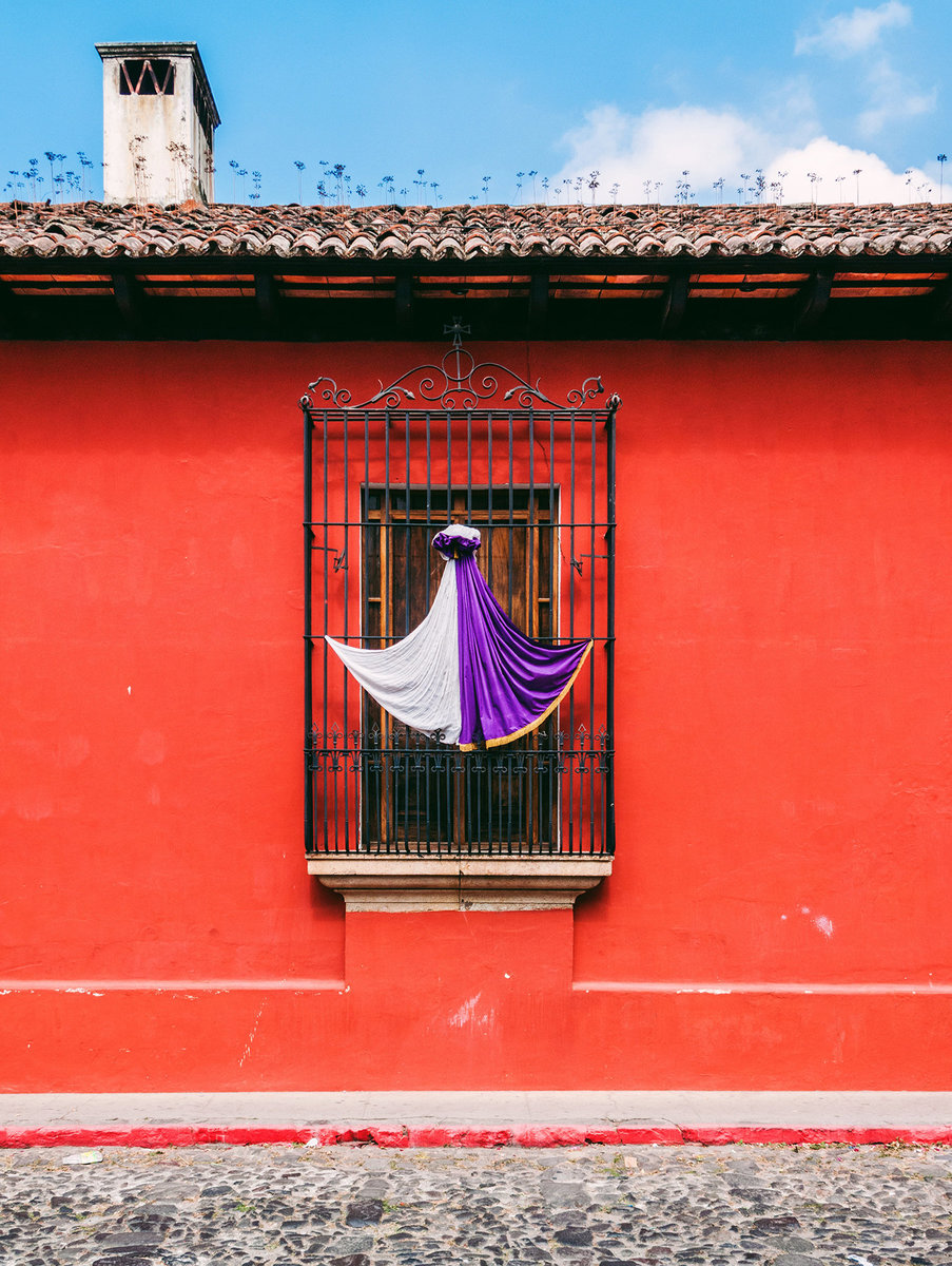 A window decorated for Holy Week in Antigua, Guatemala