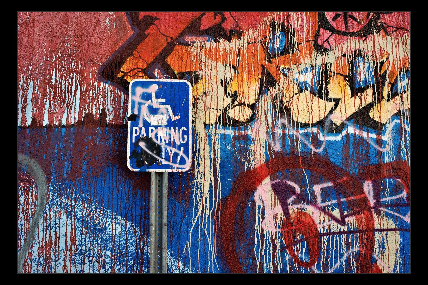 painted wall and handicapped parking, San Pedro