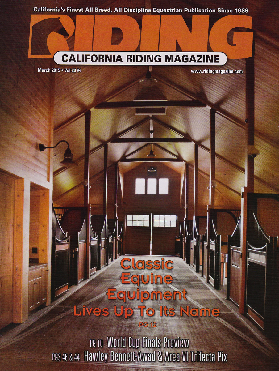 My photo of an interior of Wild Turkey Farm on the cover of Riding Magazine 2015