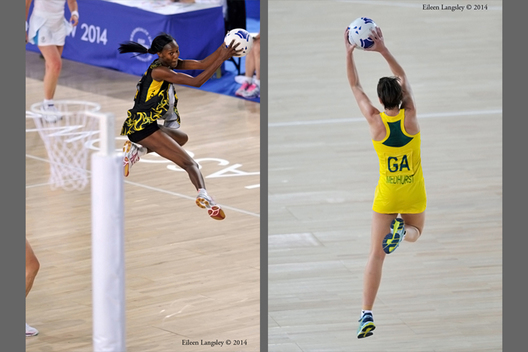 Jamaican and Australian players showing skill during their matches at the Netball competition of the 2014 Glasgow Commonwealth Games.