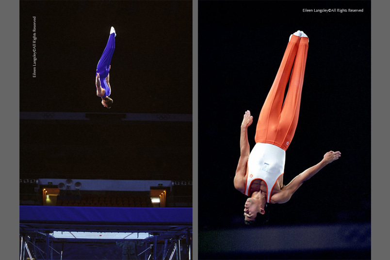 A double image depicting the debut Trampolining evet at the Sydney 2000 Olympic Games and featuring Alan Villafuerte (Netherlands) on the right.