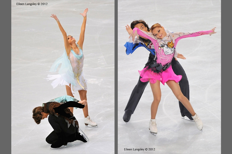 Ekaterina Pushkash and Jonathan Guerreiro (Russia) competing in the long and short programmes at the 2012 ISU Grand Prix Trophy Eric Bompard at the Palais Omnisports Bercy