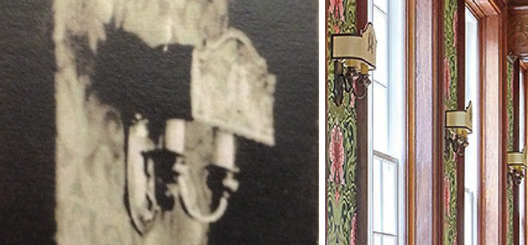 Replication of lost wall sconces in heritage building from photographic evidence shown on left
