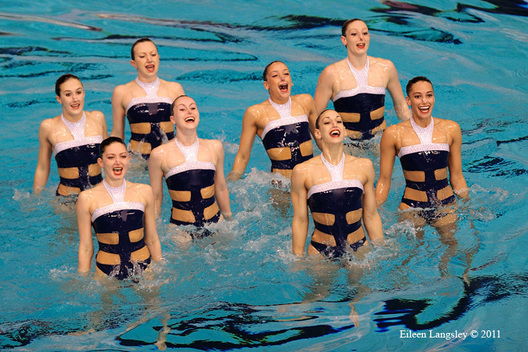 The British team in exuberant mood during their routine at the 2011 European Synchro Champions Cup at the Ponds Forge International Sports Centre.