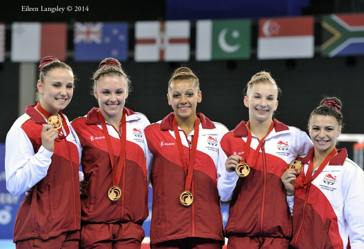 England's women's team win the gold medal at the 2014 Glasgow Commonwealth Games (Hannah Whelan, Ruby Harrold, Becky Downie, Kelly Simm,Claudia Fragapane).
