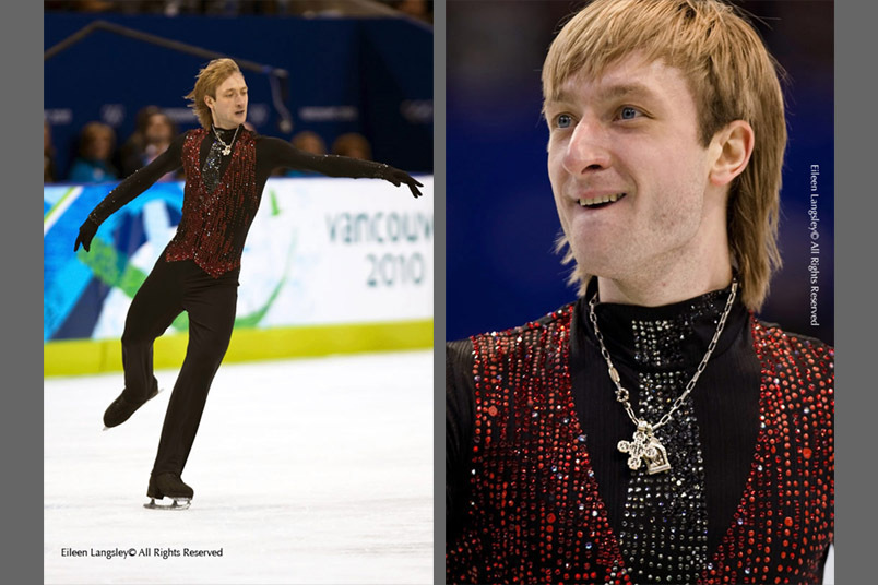 Silver medallist Evgeni Plushenko (Russia) in action during his free programme at the 2010 Vancouver Winter Olympic Games.