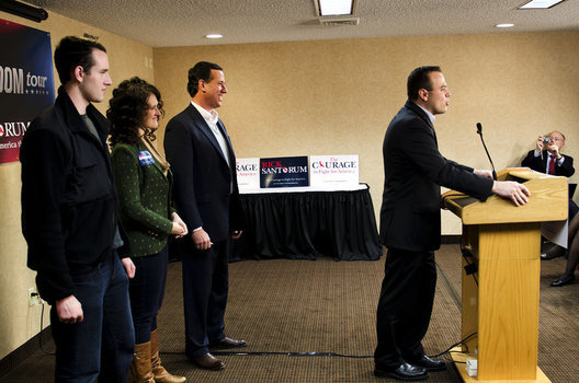 At a press conference for Rick Santorum, conservative Iowa Secretary of State Matt Schultz endorses Senetor Santorum.