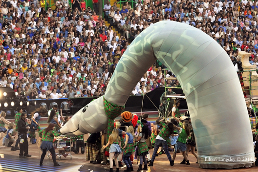 Nessie the Loch Ness monster makes an appearance at the Opening Ceremony at the 2014 Glasgow Commonwealth Games .