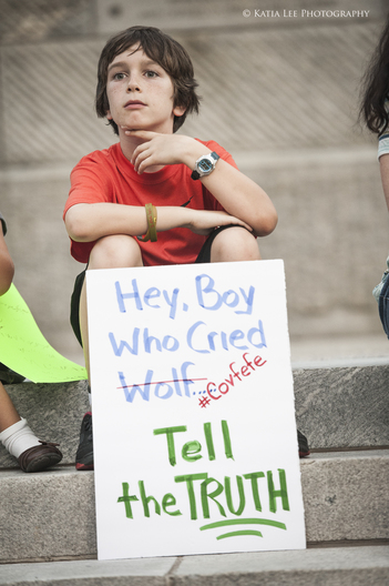 Young boy at Indivisible Midlands'  March for Truth on the State House grounds, Columbia  S.C., June 3, 2017