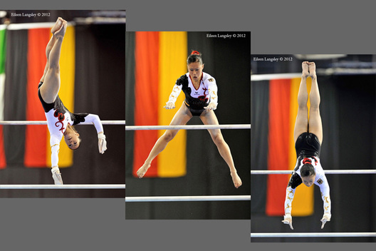 Kim Bui (Germany) competing on asymmetric bars at the 2012 FIG World Cup in the Emirates Arena