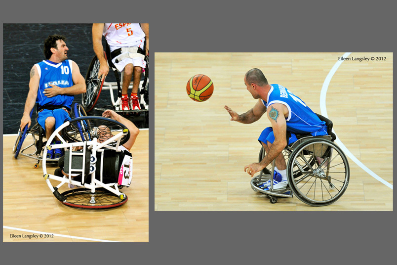 Rafael Munio Gamez (Spain) finds himself upturned by Italy's Damiano Airoldi and Fabio Bernardis goes on the attack during their wheelchair Basketball match at the London 2012 Paralympic Games.