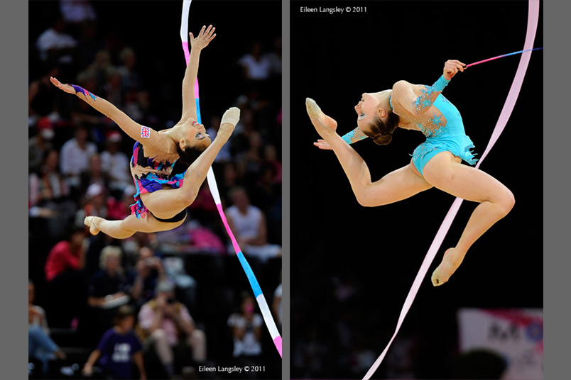 British gymnasts Mimi Cesar (left) and Keziah Gore (right) competing with Ribbon at the World Rhythmic Gymnastics Championships in Montpellier.