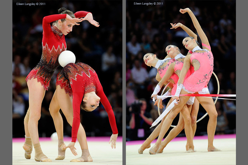 The groups from Azerbaijan (left) and Switzerland (right) in action at the World Rhythmic Gymnastics Championships in Montpellier.