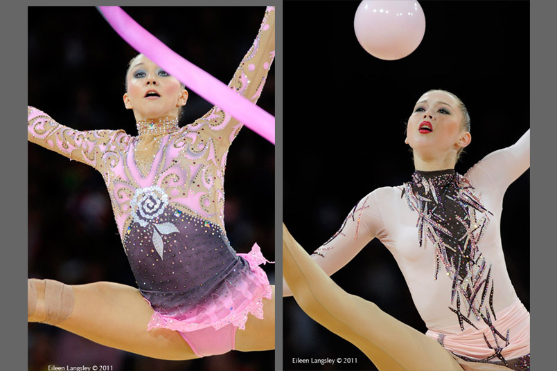Close up concentration from Lioubou Charkashina (Belarus) left and Alina Maksymenko (Ukraine) right in action at the World Rhythmic Gymnastics Championships in Montpellier.
