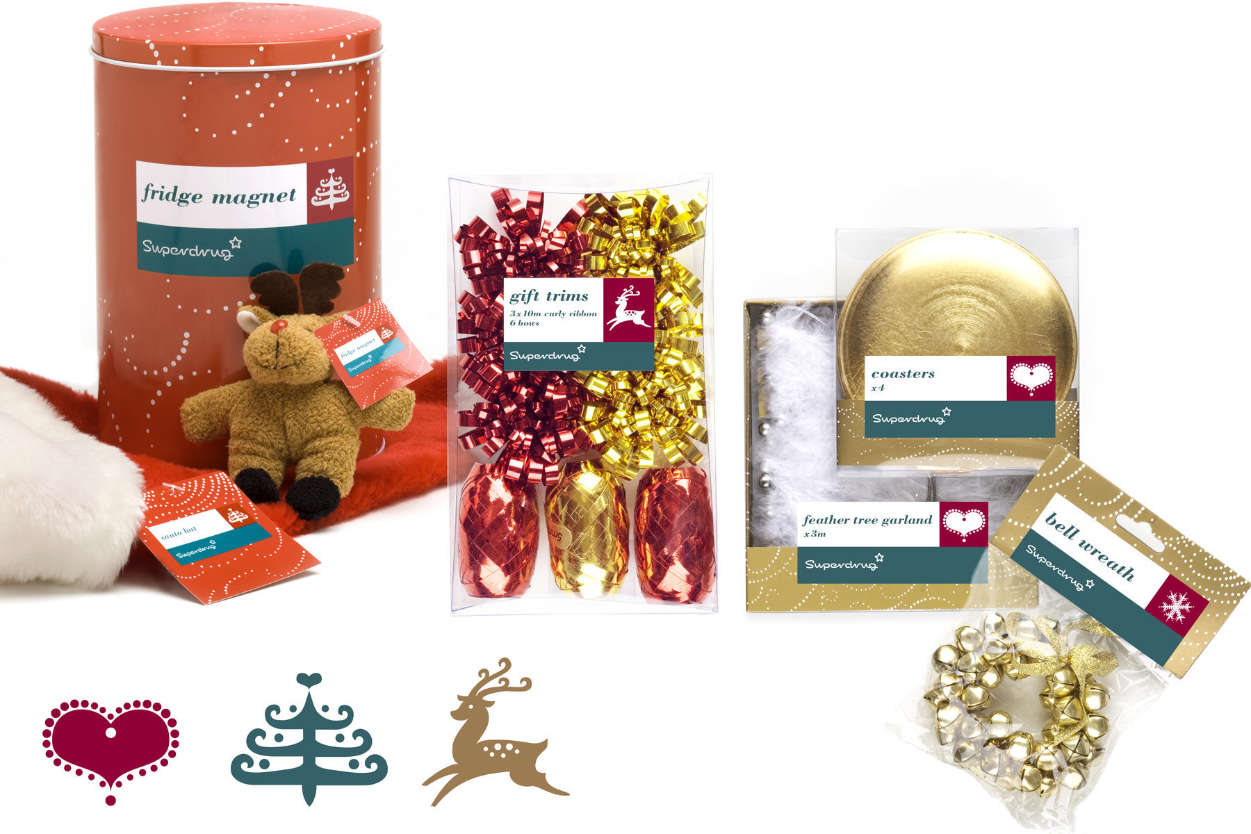 Packaging design, showing price differentiation, for a wide range of Christmas products 