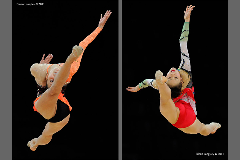 Neda Sernioute (Lithuania) competing with Ball left and Runa Yamaguchi (Japan) right at the World Rhythmic Gymnastics Championships in Montpellier.