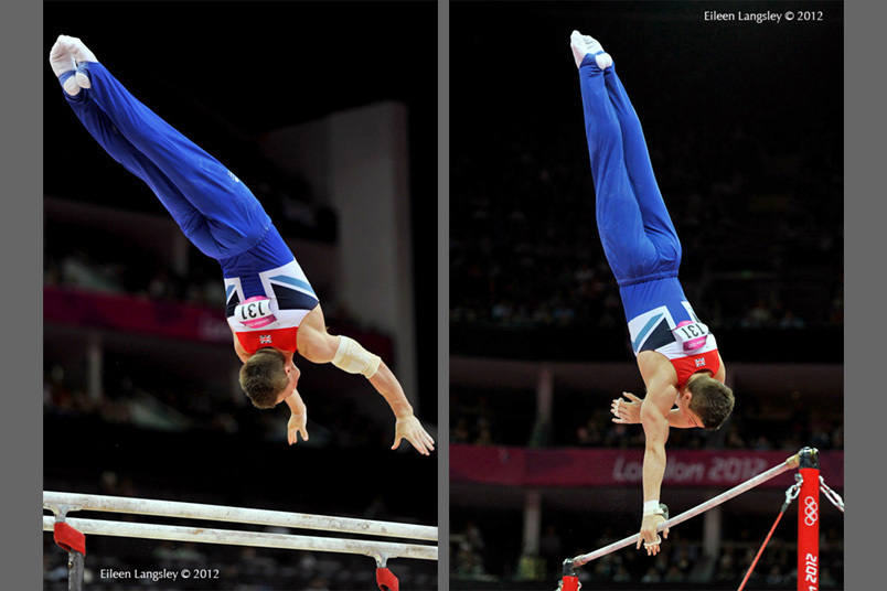 Sam Oldham (Great Britain) competing on Parallel Bars and High Bar during the Artistic Gymnastics competition of the London 2012 Olympic Games.
