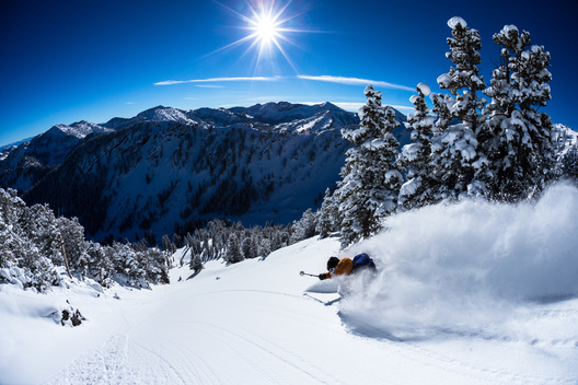 Pep Fujas skiing deep powder in the Wasatch Mountains, UT