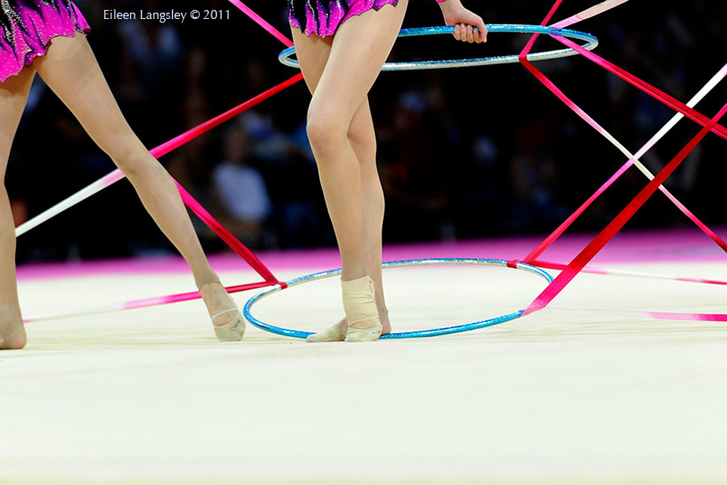 The group from Israel competing at the World Rhythmic Gymnastics Championships in Montpellier.