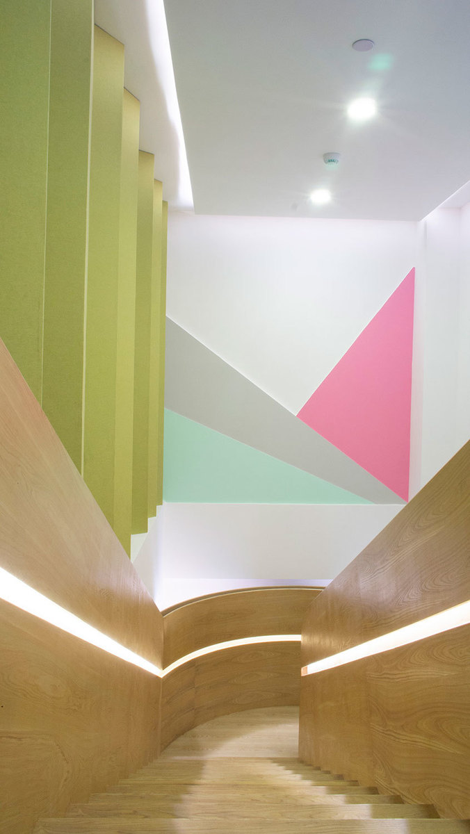 Staircase of ART PLUS III, a Children Performing Art Education Center designed by Singapore-based AND lab in Shenzhen Xiasha